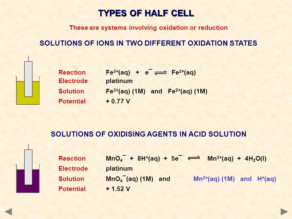 TYPES OF HALF CELL SOLUTIONS OF IONS IN TWO DIFFERENT OXIDATION STATES