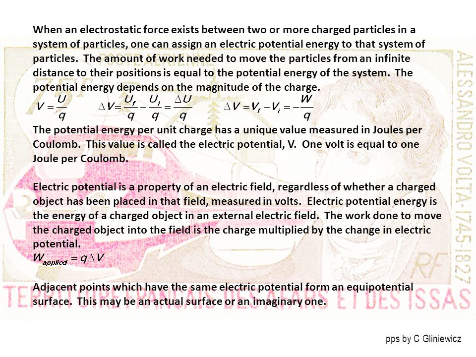 When an electrostatic force exists between two or more charged particles in a system of particles, one can assign an electric potential energy to that system of particles. The amount of work needed to move the particles from an infinite distance to their positions is equal to the potential energy of the system. The potential energy depends on the magnitude of the charge.