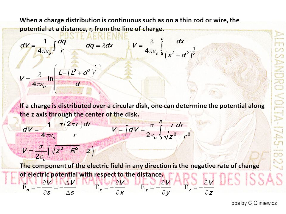 When a charge distribution is continuous such as on a thin rod or wire, the potential at a distance, r, from the line of charge.