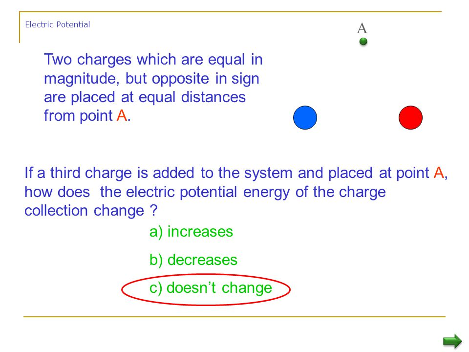 Electric Potential A. Two charges which are equal in magnitude, but opposite in sign are placed at equal distances from point A.