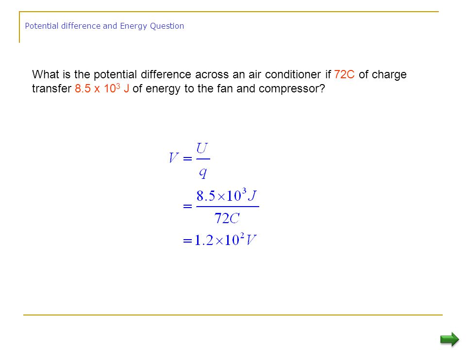 Potential difference and Energy Question