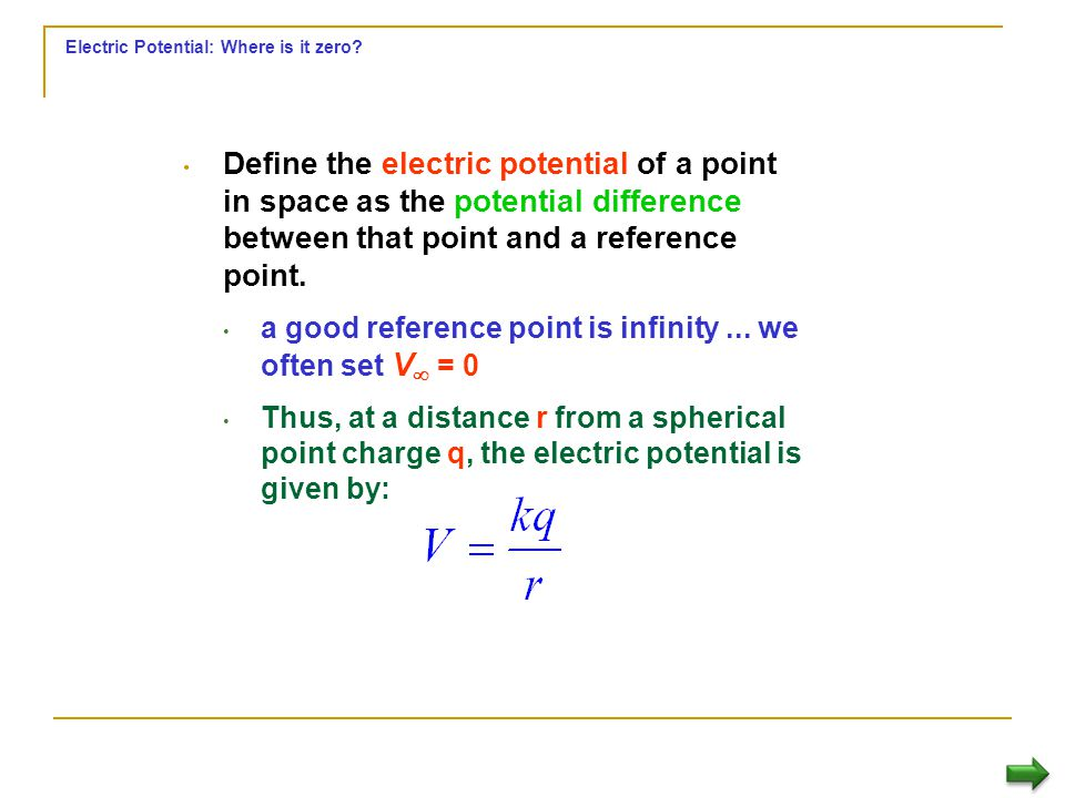Electric Potential: Where is it zero