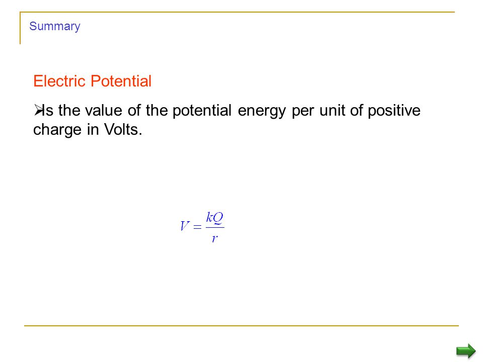 Summary Electric Potential.