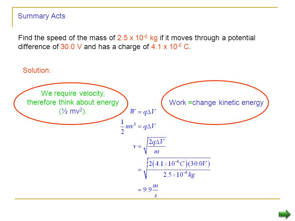 We require velocity, therefore think about energy (½ mv2).