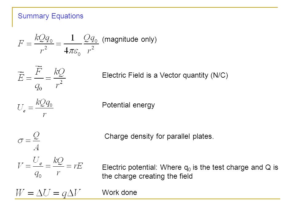 Summary Equations (magnitude only) Electric Field is a Vector quantity (N/C) Potential energy. Charge density for parallel plates.