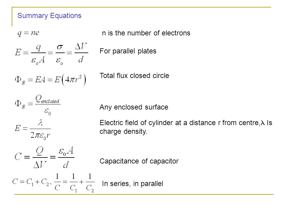 Summary Equations n is the number of electrons. For parallel plates. Total flux closed circle. Any enclosed surface.