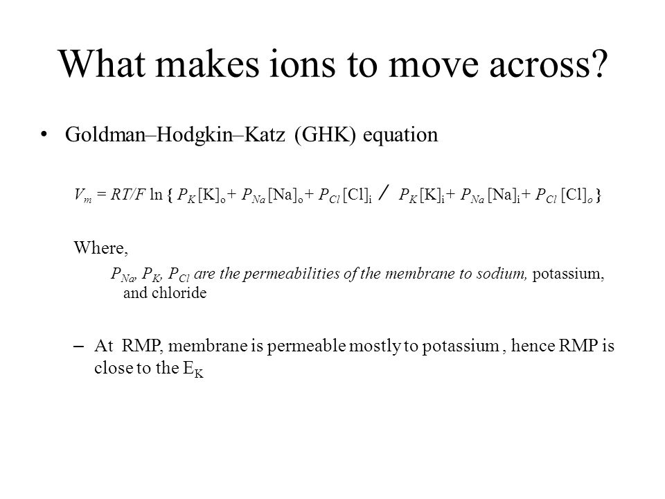 What makes ions to move across