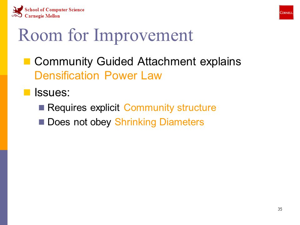 Room for Improvement Community Guided Attachment explains Densification Power Law. Issues: Requires explicit Community structure.