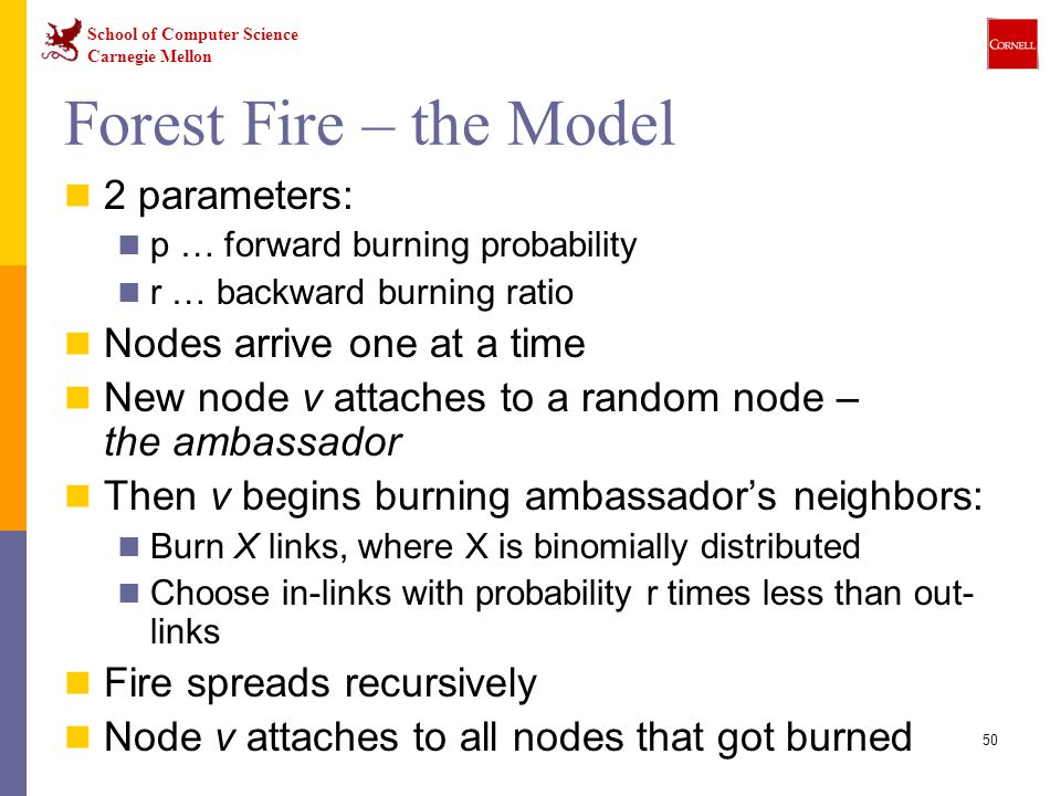 Forest Fire – the Model 2 parameters: Nodes arrive one at a time