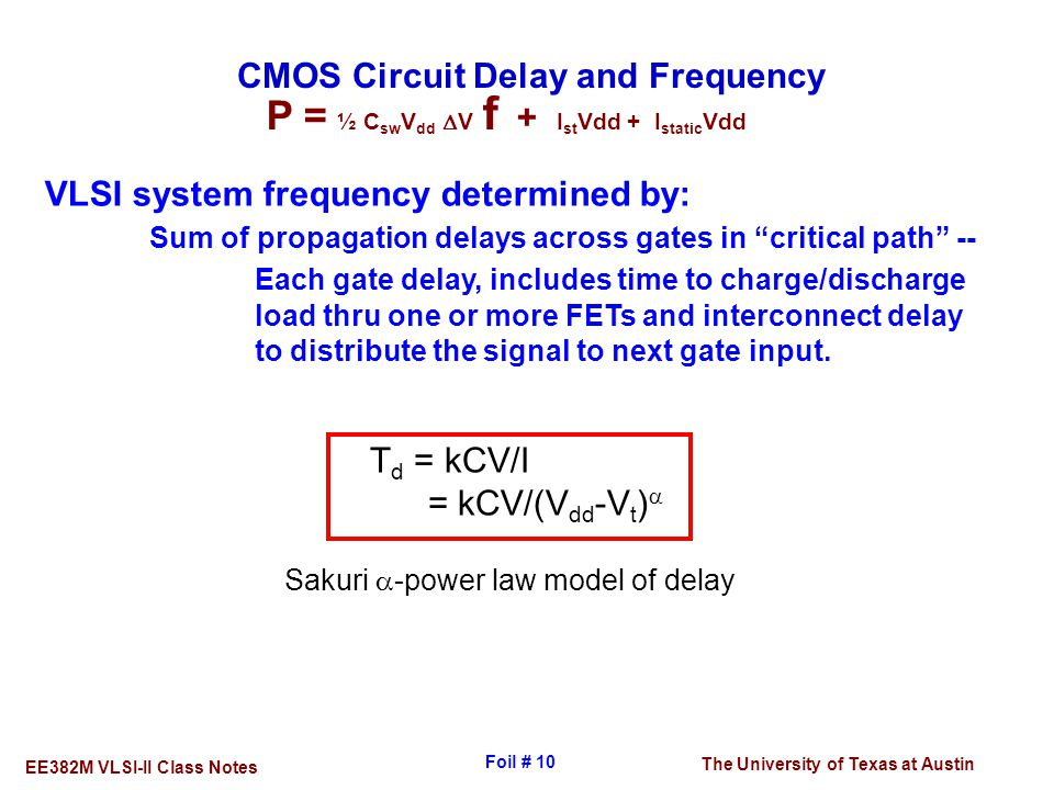 CMOS Circuit Delay and Frequency