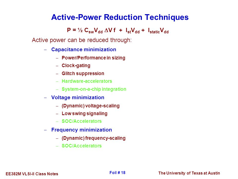 Active-Power Reduction Techniques