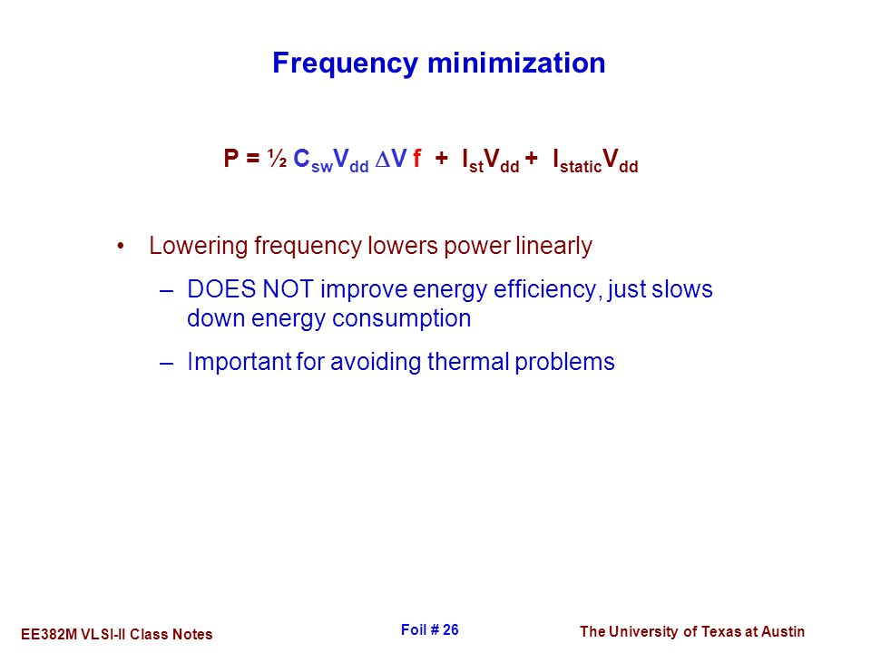 Frequency minimization
