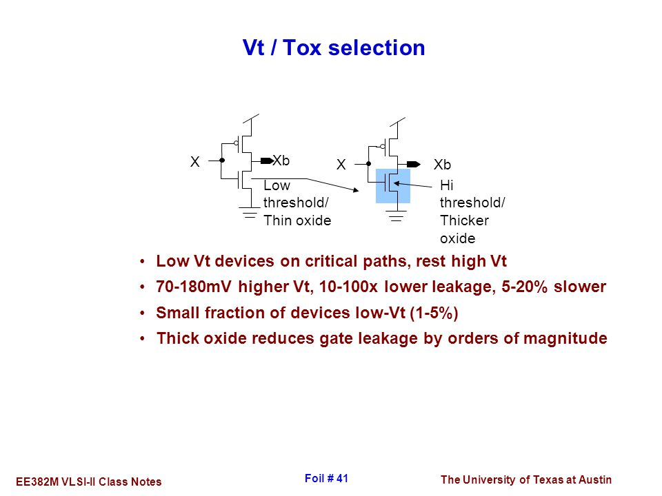 Vt / Tox selection Low Vt devices on critical paths, rest high Vt