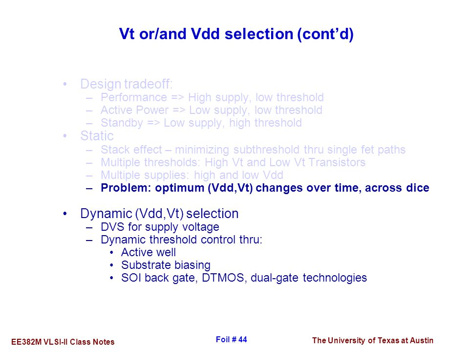 Vt or/and Vdd selection (cont'd)