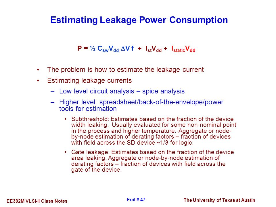 Estimating Leakage Power Consumption