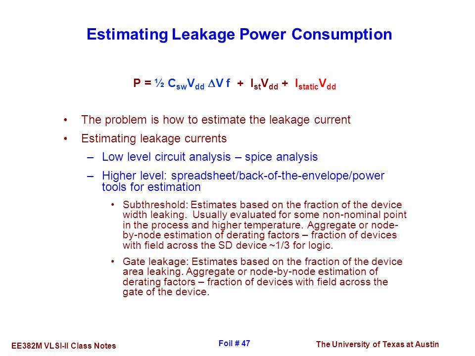 Estimating Leakage Power Consumption