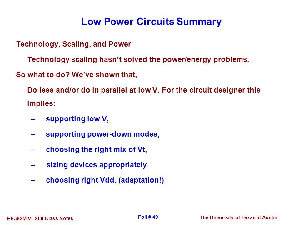 Low Power Circuits Summary