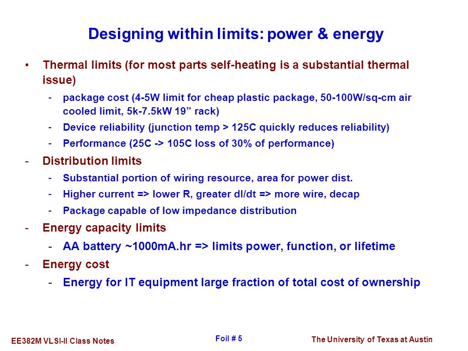 Designing within limits: power & energy