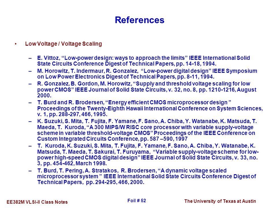 References Low Voltage / Voltage Scaling