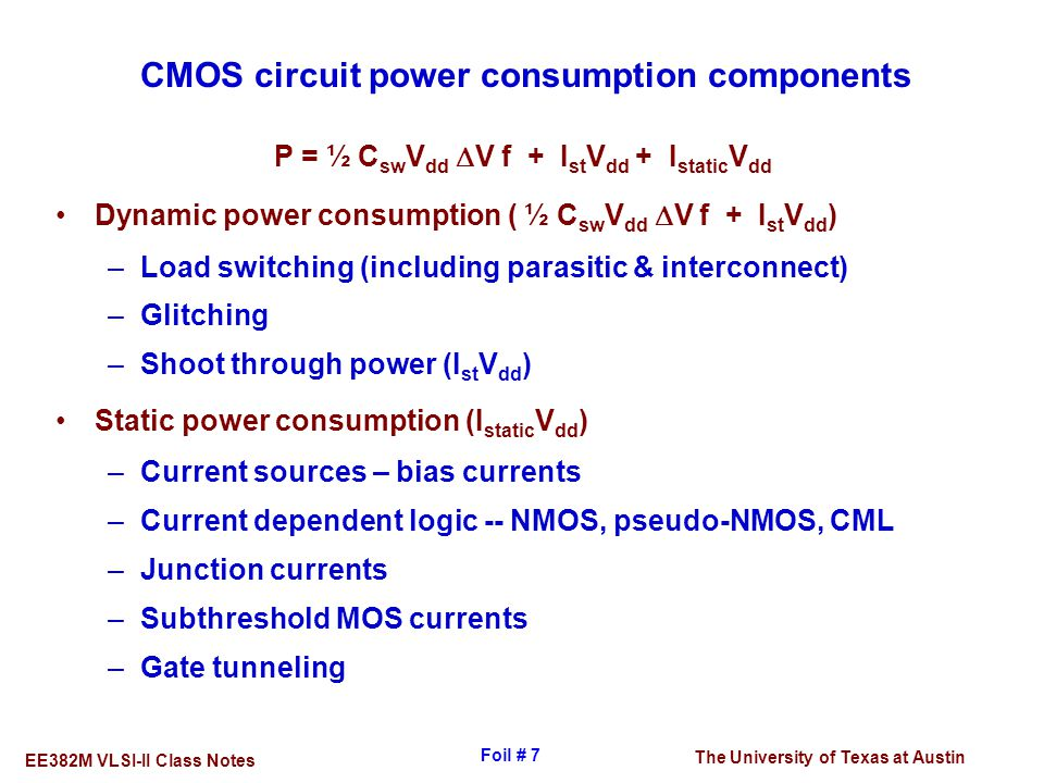 CMOS circuit power consumption components