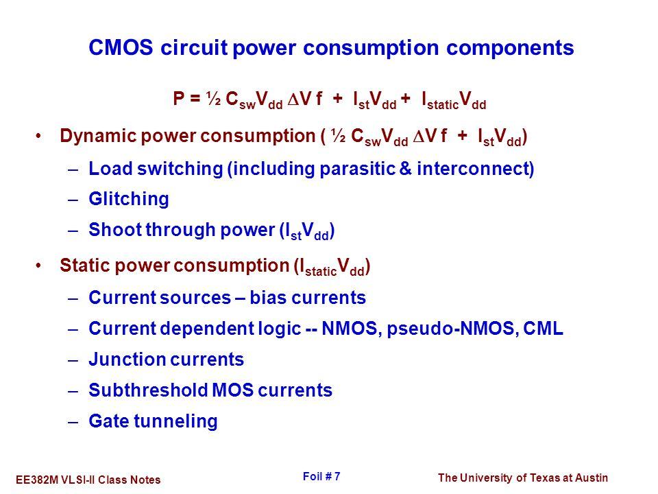 CMOS circuit power consumption components