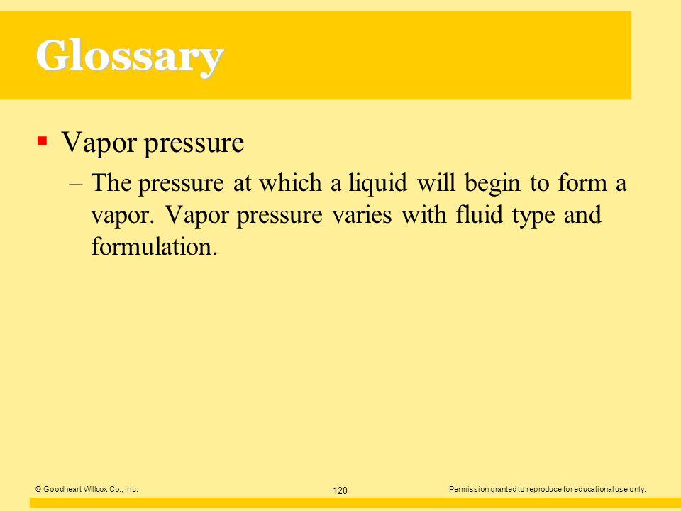 Glossary Vapor pressure