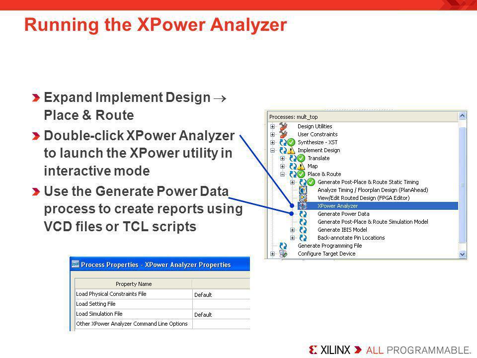 Running the XPower Analyzer