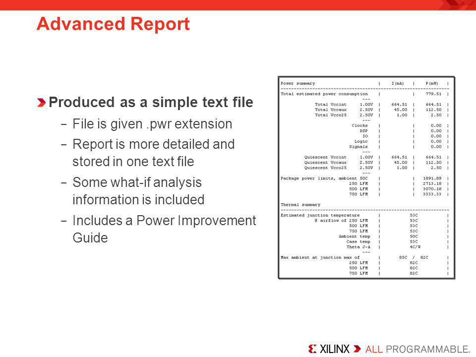 Advanced Report Produced as a simple text file