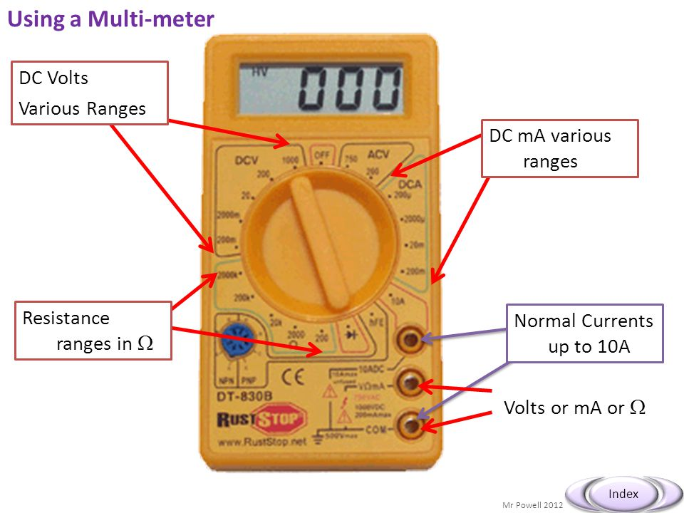 Using a Multi-meter DC Volts Various Ranges DC mA various ranges
