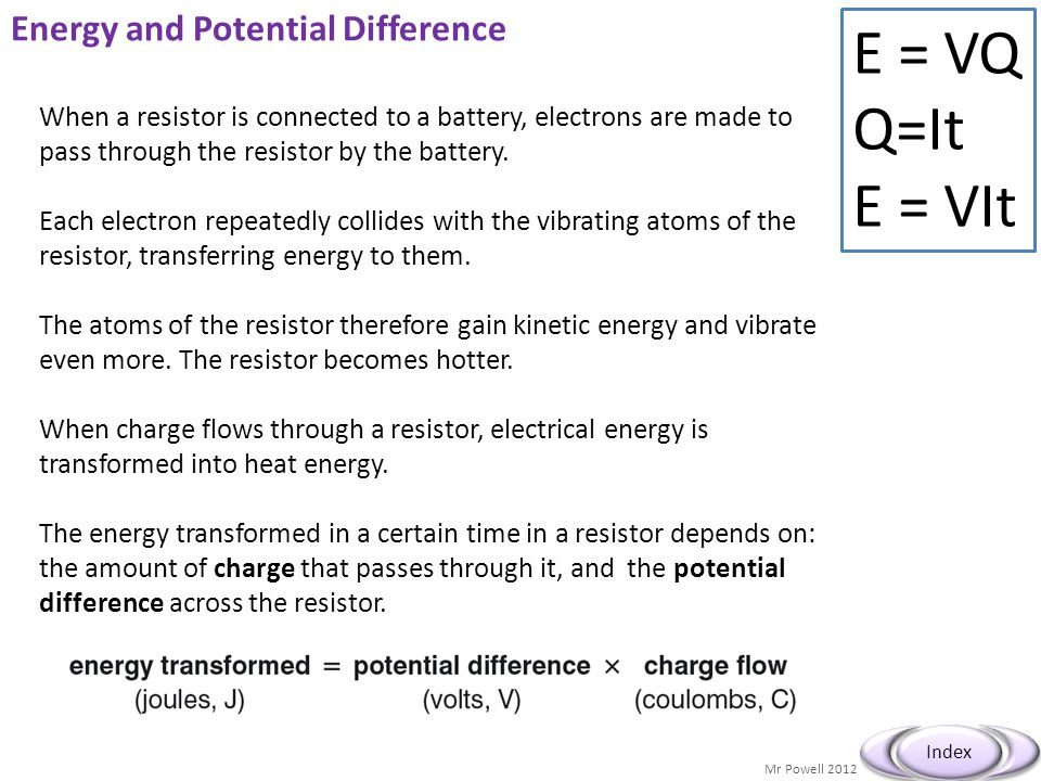 Energy and Potential Difference