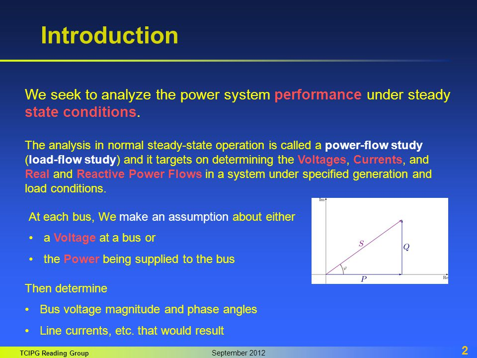 Introduction We seek to analyze the power system performance under steady state conditions.