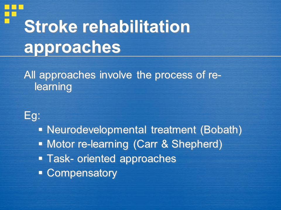 Stroke rehabilitation approaches