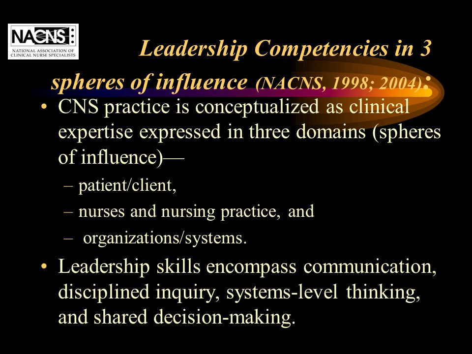 Leadership Competencies in 3 spheres of influence (NACNS, 1998; 2004):