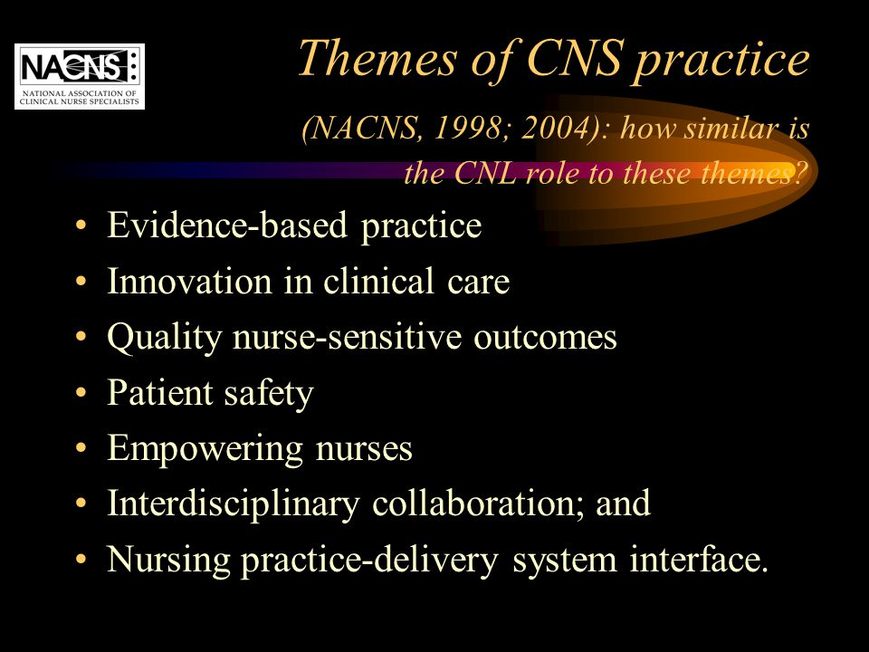 Themes of CNS practice (NACNS, 1998; 2004): how similar is the CNL role to these themes