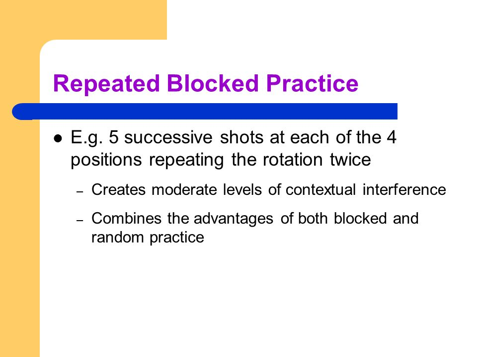 Repeated Blocked Practice