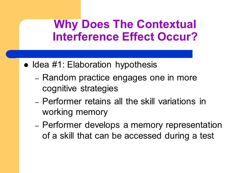 Why Does The Contextual Interference Effect Occur