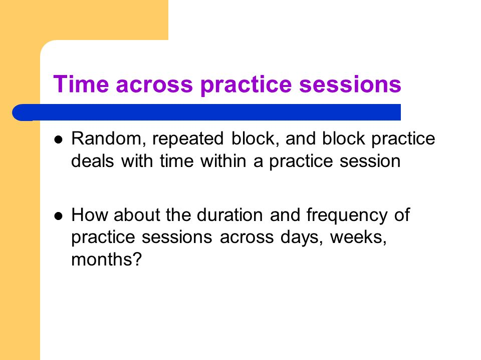 Time across practice sessions
