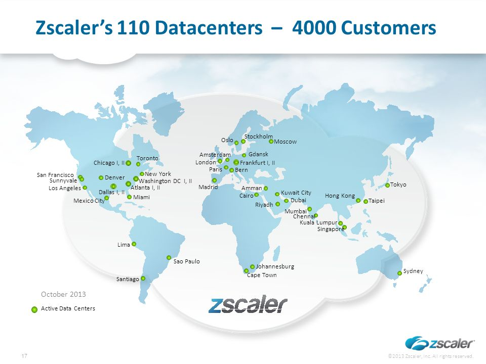 Zscaler's 110 Datacenters – 4000 Customers