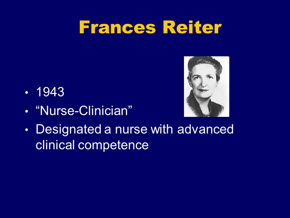 Frances Reiter 1943 Nurse-Clinician
