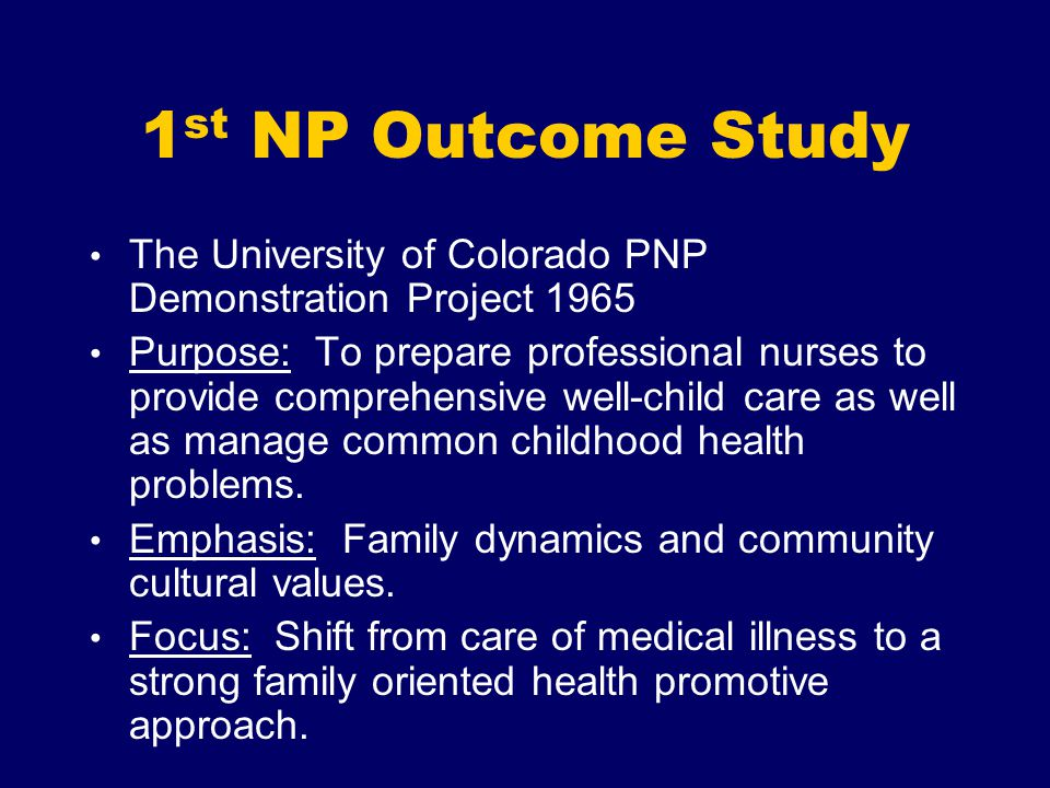 1st NP Outcome Study The University of Colorado PNP Demonstration Project 1965.