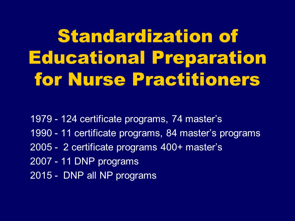 Standardization of Educational Preparation for Nurse Practitioners