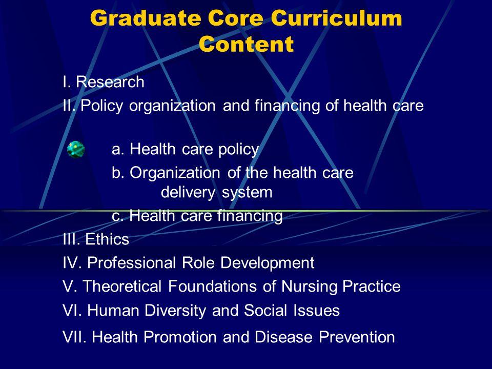 Graduate Core Curriculum Content
