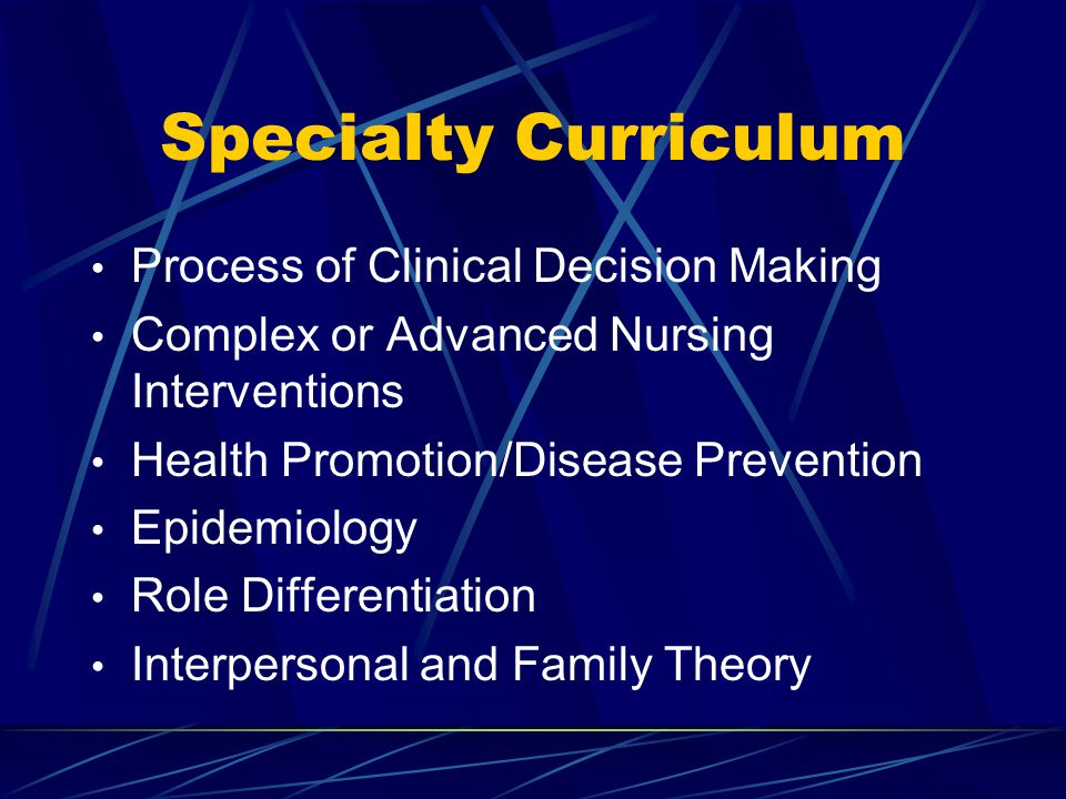Specialty Curriculum Process of Clinical Decision Making