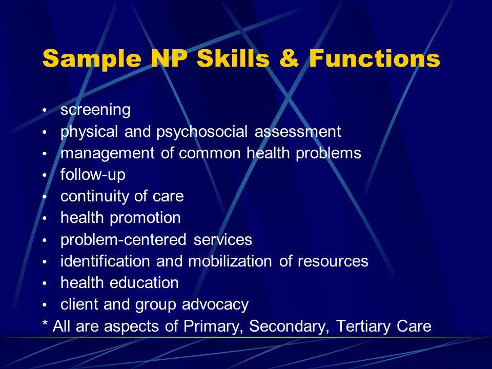 Sample NP Skills & Functions