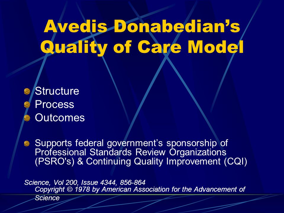 Avedis Donabedian's Quality of Care Model