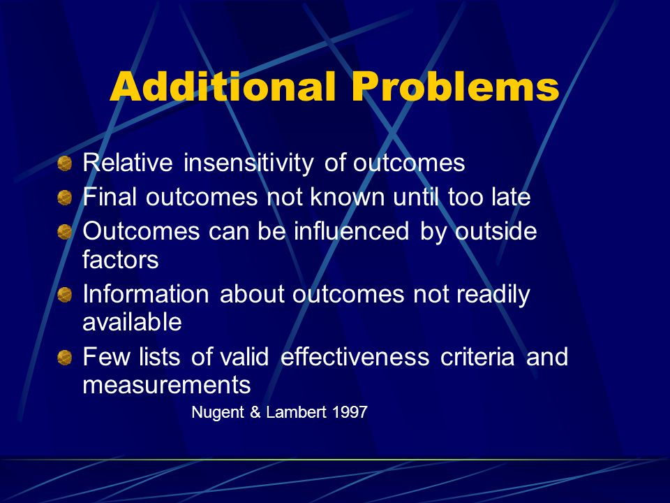 Additional Problems Relative insensitivity of outcomes