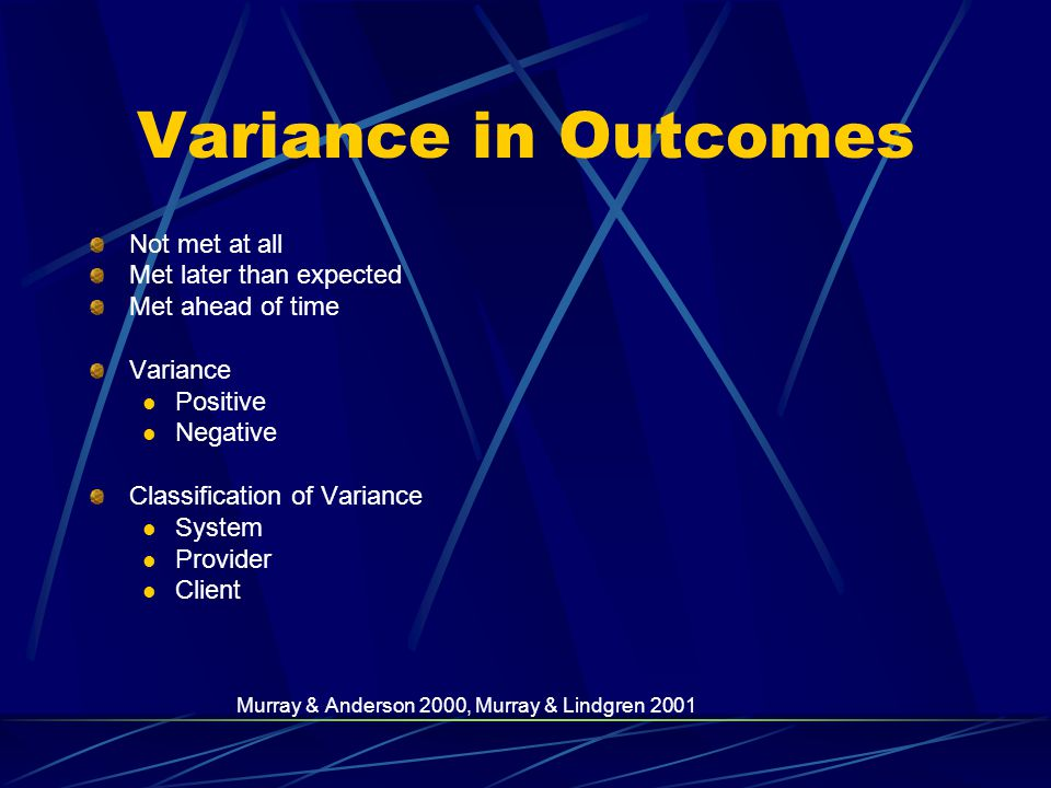 Variance in Outcomes Not met at all Met later than expected