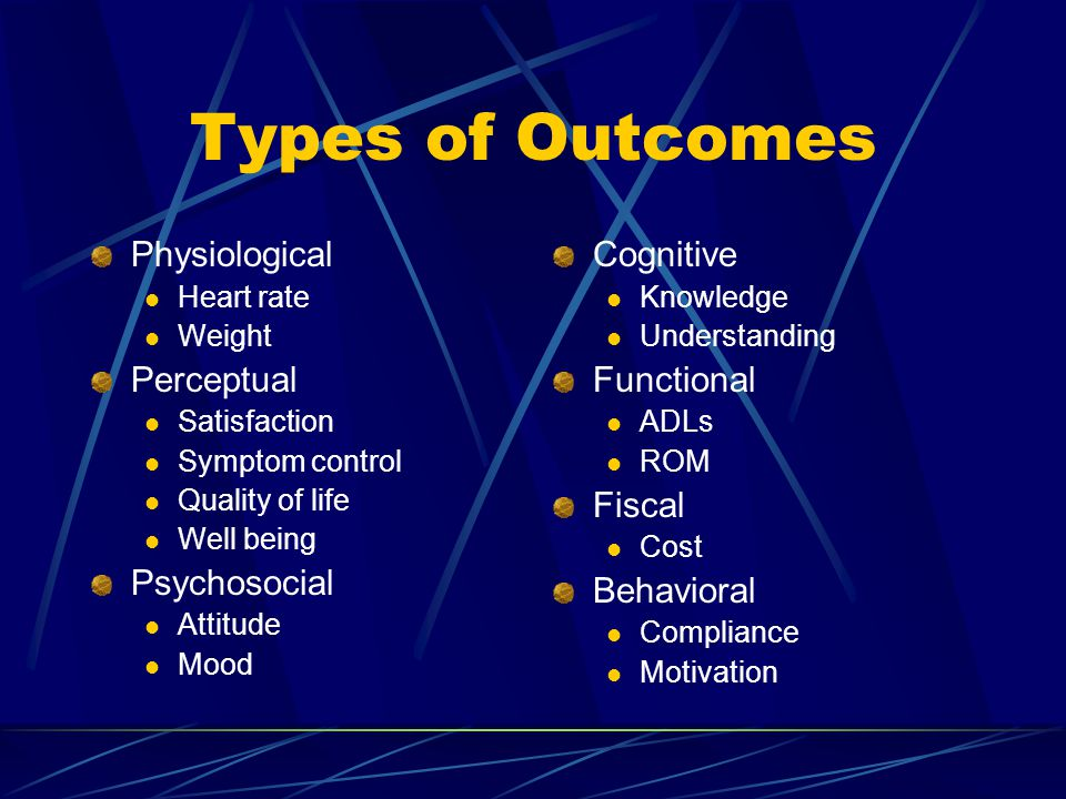 Types of Outcomes Physiological Perceptual Psychosocial Cognitive