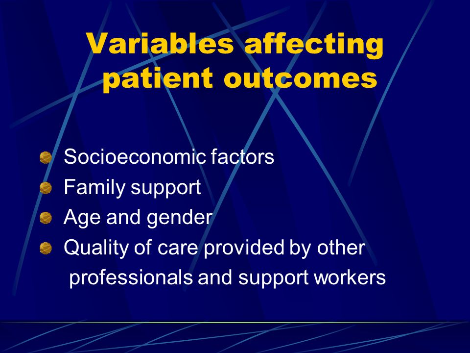 Variables affecting patient outcomes