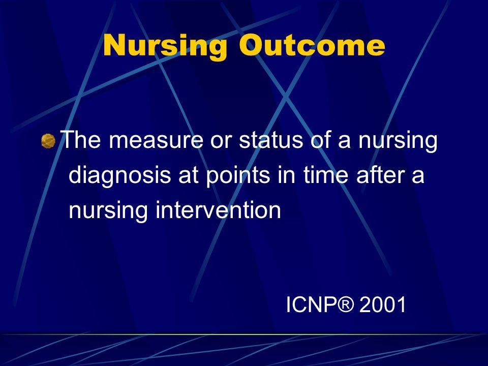 Nursing Outcome The measure or status of a nursing